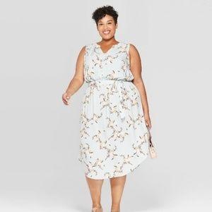 Ava & Viv Blue Floral Midi Dress Size 3x